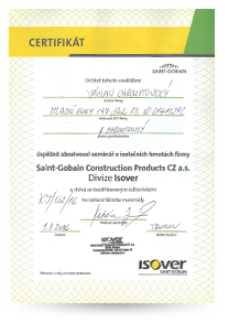 Certifikát Isover Montér Václav