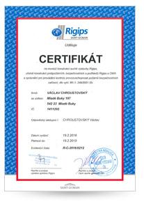 Rigips certifikát Montér Václav